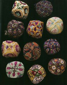 Antique uzbek hats, duppi caps, ethnic silk embroidery, Uzbekistan.