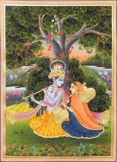 Jugalbandi of Radha and Krishna - Miniature Paintings (Miniature Painting on Silk Cloth - Unframed) Pichwai Paintings, Mughal Paintings, Krishna Painting, Indian Art Paintings, Madhubani Painting, Madhubani Art, Rajasthani Miniature Paintings, Rajasthani Painting, Indian Folk Art