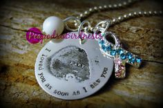 """Actual Etched Sonogram Photo  """"I loved you as soon as I saw you""""& swarovskil infant loss ribbon necklace -mommy, baby, sonogram, ultrasound, on Etsy, $36.99"""