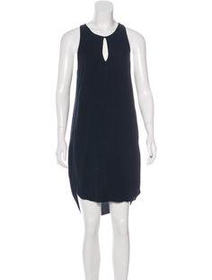 Navy blue 3.1 Phillip Lim sleeveless mini dress with keyhole cutout at neckline and rounded hemline.