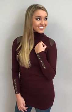 Jessica Turtleneck Tunic in Burgundy $89