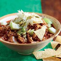 Chipotle Turkey Chili with Apples and Cheddar. Smoky, spicy, and sweet - the perfect dinner for a cold December Sunday. Definitely recommend!