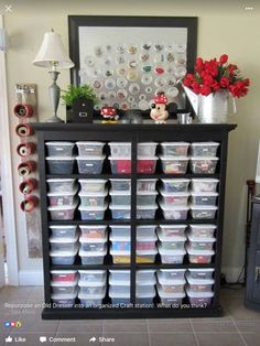 Repurpose an old dresser into an organized craft station