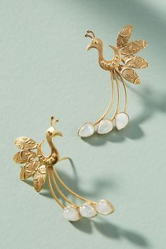Slide View: 1: Tail Feather Climber Earrings