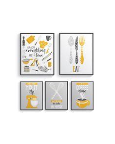 Mustard Yellow Gray Kitchen Wall Decor, Yellow Kitchen wall art prints set, Kitchen prints, Modern Yellow Gray Home Decor, Dining room decor