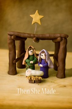Holy Family Giveaway - Yes? Christmas Nativity Set, Polymer Clay Christmas, Nativity Crafts, Christmas Ornaments, Nativity Sets, All Things Christmas, Christmas Holidays, Christmas Decorations, Xmas
