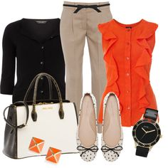 pops of orange. This would be so cute for work. Get your own personal stylist @Nesreen Mills Fix https://stitchfix.com/referral/3503147