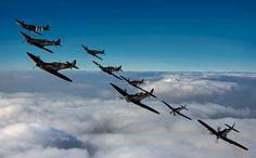 Five Spitfires and two Hurricanes in one flight.