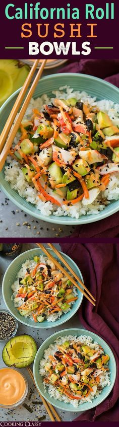 Roll Sushi Bowls - quicker and easier than traditional sushi yet equally as delicious! Definitely a repeat recipe!California Roll Sushi Bowls - quicker and easier than traditional sushi yet equally as delicious! Definitely a repeat recipe! Sushi Recipes, Seafood Recipes, Asian Recipes, Vegetarian Recipes, Cooking Recipes, Healthy Recipes, Recipies, Vegan Meals, Damn Delicious Recipes
