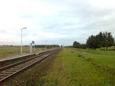 Torowisko w Siedliskach w stronę Ełku. Po prawej stronie torów widać dawne miejsce po rozebranej już drugiego torowiska.