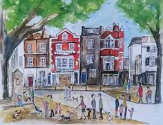 'The Cricketers, Richmond Green'. Print from watercolour, The Cricketers Pub, Richmond, London Richmond Green, Richmond London, Watercolor Drawing, Watercolor Landscape, Richmond Upon Thames, Old Pub, Creative Illustration, Green Art, Life Drawing