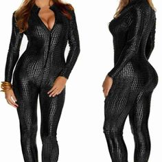 2016 Women Nightclubs Black Leather Sexy Body Suits for Pole Dancing Clothes Leotard Snakeskin Pattern Bodysuit on http://ali.pub/b60ju