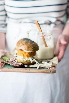 pumpkin burger with spinach bread bun and soy mayonnaise