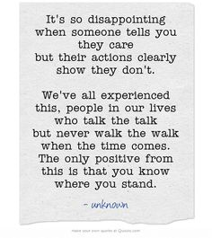 It's so disappointing when someone tells you they care but their actions clearly… Unimportant Quotes, Feeling Unimportant, Words To Live By Quotes, Quotes And Notes, Wise Words, Done Quotes, Daily Quotes, Rebound Quotes, Stand Quotes