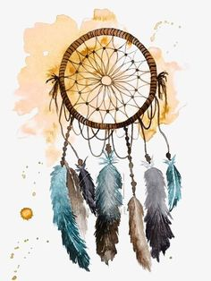 Dream catcher print of original watercolor by kelseymdesigns dream catcher painting, dream catcher watercolor, Dream Catcher Painting, Dream Catcher Nursery, Dream Catcher Art, Dream Catcher Watercolor, Native Art, Native American Art, Painting Prints, Painting & Drawing, Lapin Art