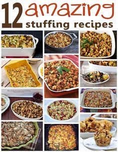 12 Stuffing Recipes I Want to Try - One of the things I look forward to eating the most on Thanksgiving is the stuffing -- this year I might try mixing it up with one of these amazing recipes. (http://mothers-home.com/12-stuffing-recipes-i-want-to-try/)