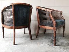 Vintage   Hollywood Regency Faux Bamboo Cane Back Club Chairs (pair)    Retro 1970u0027s   Shabby Chic