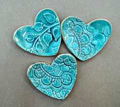 pale malachite green Ceramic Heart Ring Dishes gold edged from Etsy
