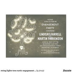 string lights tree rustic engagement party card