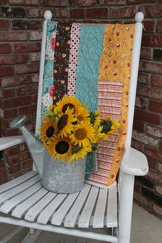 sunflowers on a perfect porch rocker