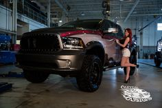 nicely detailed with red trim lifted Dodge Ram truck