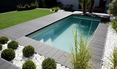 42 Ideas For Modern Landscape Design Pool Patio Small Swimming Pools, Small Pools, Swimming Pools Backyard, Swimming Pool Designs, Lap Pools, Indoor Pools, Pool Decks, Modern Landscape Design, Modern Landscaping