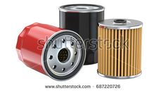 Three oil filter, 3d illustration. 3d llustration, 3D render, isolated on white background