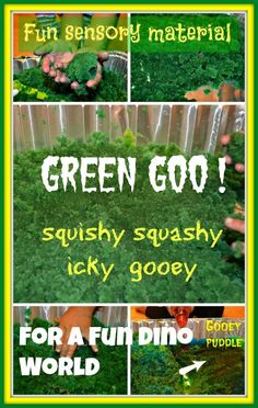 Sensory activities : Dinosaur World with green goo