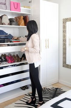 Stand Alone Closet- MadeByGirl: My NYC Closet. Ikea Pax wardrobe / closet- full post shows how she used the pax and what pieces.