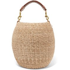 Clare V. Pot De Miel leather-trimmed woven abaca straw tote (10.945 RUB) ❤ liked on Polyvore featuring bags, handbags, tote bags, cream, woven tote, straw tote bags, floral tote bag, woven tote bags and straw handbags
