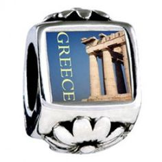 Landmark Greece Photo Flower Charms  Fit pandora,trollbeads,chamilia,biagi,soufeel and any customized bracelet/necklaces. #Jewelry #Fashion #Silver# handcraft #DIY #Accessory