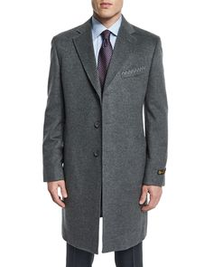 Cashmere Long Car Coat, Gray, Size: 40R - Neiman Marcus
