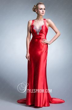 Charming Red Long Aline V-neck Prom Gown Red Formal Dresses, Satin Dresses, Elegant Dresses, Beautiful Dresses, Discount Prom Dresses, Wedding Dresses For Sale, Cheap Prom Dresses, Long Dresses, Designer Evening Dresses
