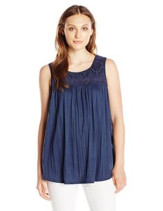 Sag Harbor Women's Sleeveless Scoop Crochet Yoke Crinkle * Review more details here : Fashion