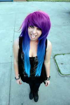 Blue and pink scene hair