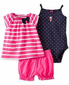Carter's Baby Girls' 3-Piece Top, Bodysuit & Diaper Cover Set - Kids - Macy's