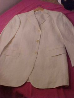 Pal Zileri White Suit US sz 40 made Italy silk blend