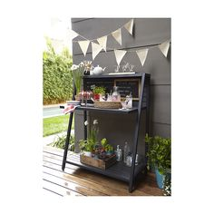 Shop Alfresco Grey Garden Work Station. Five removable hooks on the back slats conveniently hang tools for cooking, gardening or bartending so it can work as a potting bench, outdoor serving table or outdoor bar.