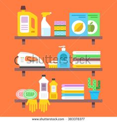 Household goods, household products on shelves. Washing, cleaning, spring cleaning, ironing concepts. Graphic design for web sites, web banners, infographics, printed materials. Vector illustration
