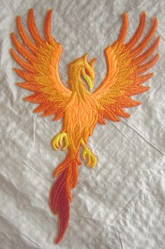 """HUGE Phoenix in Flight Embroidered Iron on Applique - Patch - 11"""" tall x 7"""" Wide by TheCrochetTowel on Etsy"""