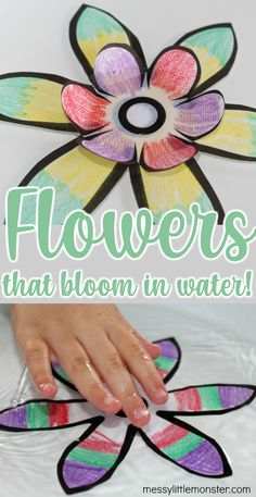 Magic blooming paper flower craft for kids. Cute Kids Crafts, Toddler Crafts, Kids Fun, Kids Learning Activities, Stem Activities, Spring Activities, Flower Template, Blooming Flowers, Flower Crafts