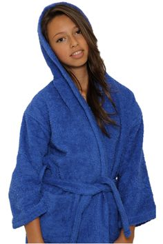 Kid s Terry Hooded Robe - Royal Blue   Cotton Terry Cloth Inside   Outside  - This luxury children s hooded robe design is a timeless classic. 9c883ffc8