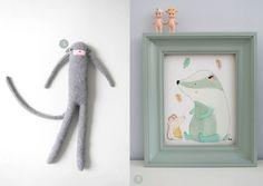 nr. 1: Charlie Monkey van Donna Wilson | nr. 2: handmade dasje by mij | inclusief vintage lijst A3 formaat: 37 euro | interesse? haskesommers@gmail.com