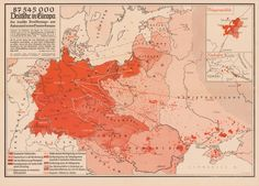 A demographics map depicting the locations of German populations throughout Europe. At the time this illustration was made, there were an estimated 87,545,000 Germans on the continent. This map was made in the year 1938 by a special German commission.