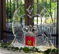 Custom Monogrammed Wedding Ice Sculpture with Heart | Full Spectrum Ice Sculptures