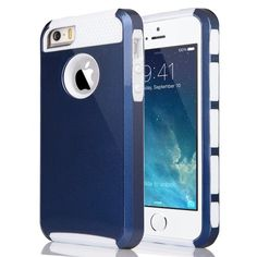 iPhone 5/5S Shockproof Case with Screen Protector – ULAK Pandamimi Series (Navy Blue/White)