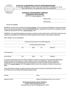 Alabama Appraisal Management Company Registration Bond. Complete the form and buy instantly for $255.00 via e-mail & US mail delivery.