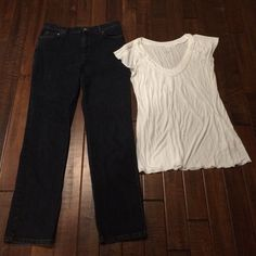 Jones NY jeans & white Calvin Klein tshirt Jeans are 98% cotton & 2% spandex, size 12.  Shirt is 100% viscose, size XL. Jones New York Jeans