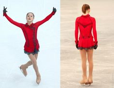 Julia Lipnitskaia skating as the girl in the red coat from Schindler's List