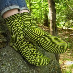 Ravelry: Far Into the Forest pattern by Kirsten Hall Fair Isle Knitting, Knitting Socks, Hand Knitting, Knitted Slippers, Wool Socks, Socks And Heels, My Socks, How To Start Knitting, Knitting Projects